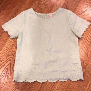 J.Crew Linen Mint Green Shirt, size 4